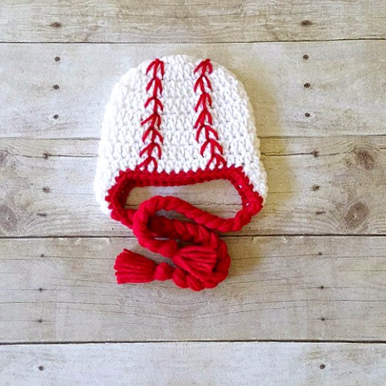 Crochet Baby Baseball Hat Braided Beanie Red White Newborn Infant Toddler Child Adult Sports Photography Photo Prop Handmade Shower Gift - Red Lollipop Boutique