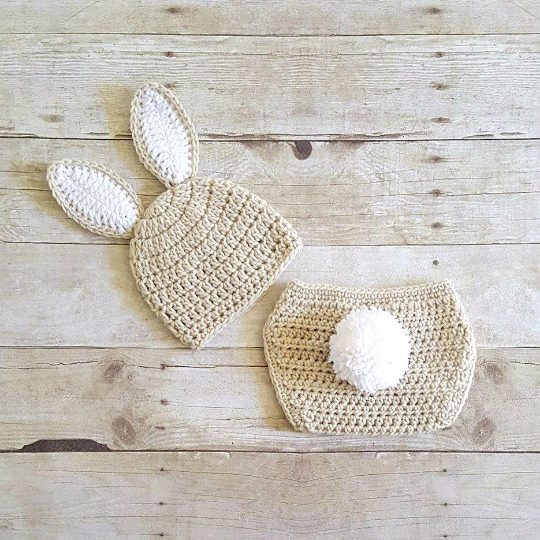 f9778fe8c Crochet Baby Easter Bunny Hat Beanie Diaper Cover Set Infant Newborn Baby  Handmade Photography Prop Baby Shower Gift Present Spring Easter