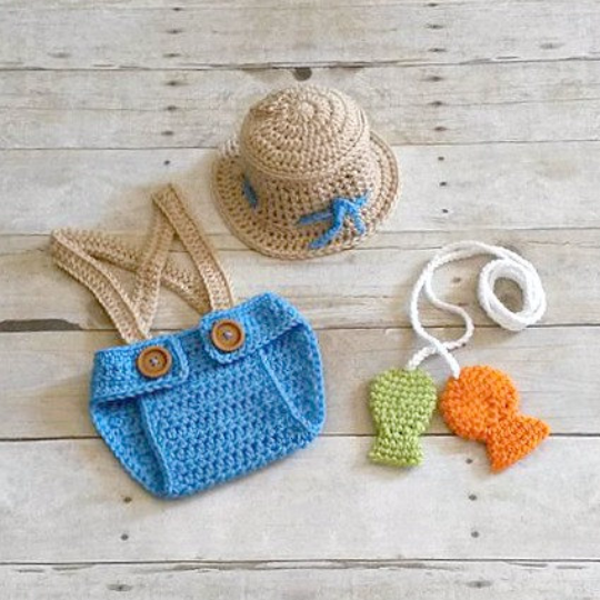 Crochet Baby Fishing Fisherman Hat Diaper Cover Suspenders Set Fish Pole Line Newborn Infant Photography Photo Prop Handmade Baby Shower - Red Lollipop Boutique