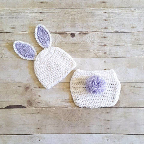 Crochet Baby Easter Bunny Hat Beanie Diaper Cover Set Infant Newborn Baby Handmade Photography Prop Baby Shower Gift Present Spring Easter