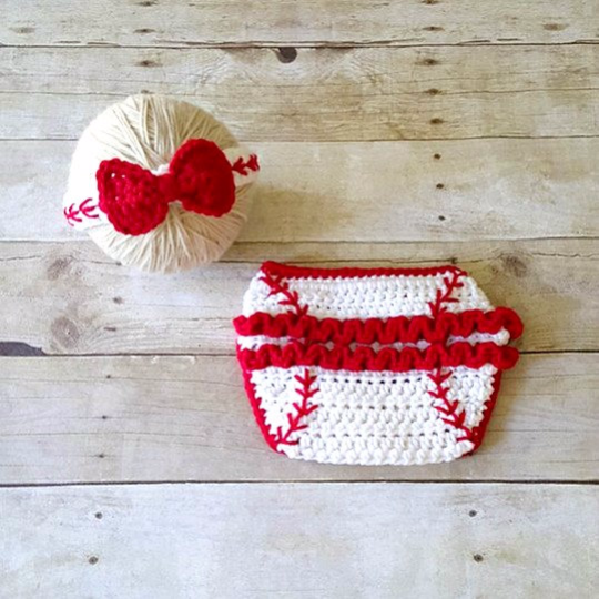 Crochet Baby Baseball Headband Hair Accessory Girl Bow Ruffled Diaper Cover Ruffles Sports Set Newborn Infant Photography Photo Prop Gift - Red Lollipop Boutique