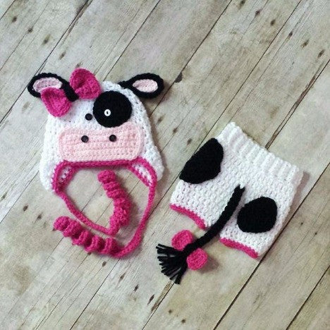 Crochet Baby Cow Hat Diaper Cover Shorts Pants Set Newborn Infant Photography Photo Prop Handmade Baby Shower Gift - Red Lollipop Boutique