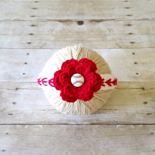 Crochet Baby Baseball Bow Flower Headband Hair Accessory Newborn Infant Toddler Child Girl Sports Photography Photo Prop Handmade Gift - Red Lollipop Boutique