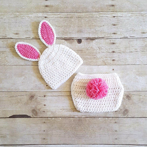 Crochet Baby Easter Bunny Hat Beanie Diaper Cover Set Infant Newborn Baby  Handmade Photography Prop Baby 1618d4f8928e
