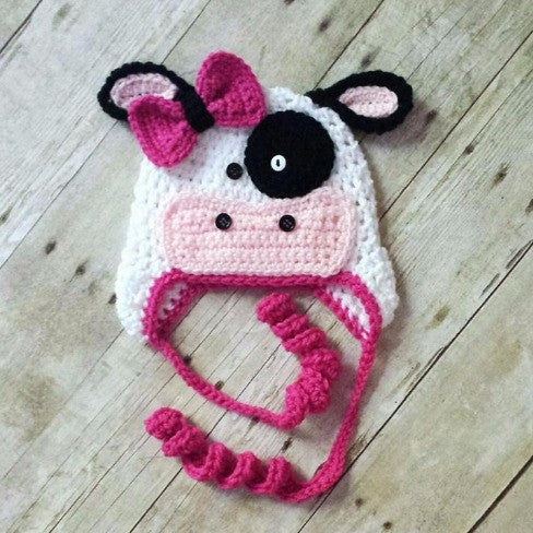 Crochet Cow Hat Beanie Animal Accessory Newborn Baby Infant Toddler Child Adult Handmade - Red Lollipop Boutique