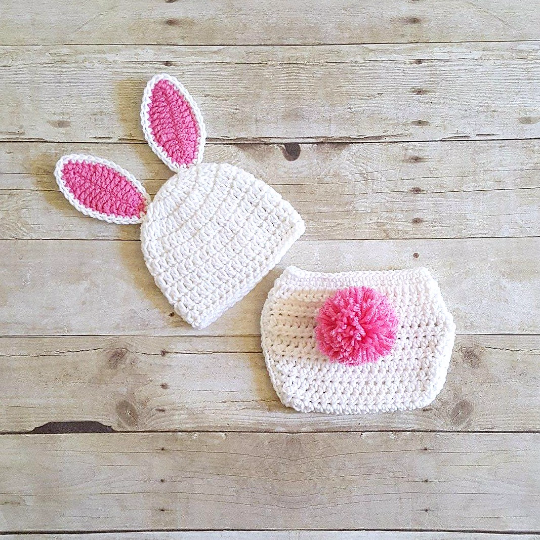 Crochet Baby Easter Bunny Hat Beanie Diaper Cover Set Infant Newborn Baby Handmade Photography Prop Baby Shower Gift Present Spring Easter - Red Lollipop Boutique
