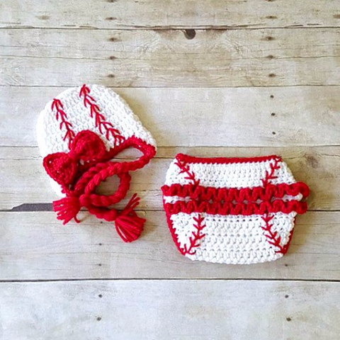 Crochet Baby Baseball Hat Beanie Cap Braided Girl Bow Ruffled Diaper Cover Ruffles Sports Set Newborn Infant Photography Photo Prop Gift - Red Lollipop Boutique