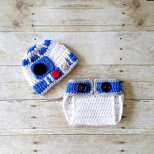 Crochet Baby R2D2 Hat Beanie Diaper Cover Set Bloomers Star Wars Inspired Newborn Infant 0-24 Months Photography Prop Handmade Shower Gift - Red Lollipop Boutique