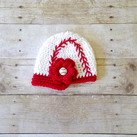 Crochet Baby Baseball Hat Flower Girl Newsboy Visor Beanie Red White Newborn Infant Toddler Child Adult Sports Photography Photo Prop Gift - Red Lollipop Boutique