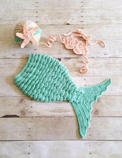 Crochet Baby Mermaid Tail Shell Bikini Top Starfish Headband Photography Prop Set Baby Infant Toddler Handmade Girl Baby Shower Gift Costume - Red Lollipop Boutique