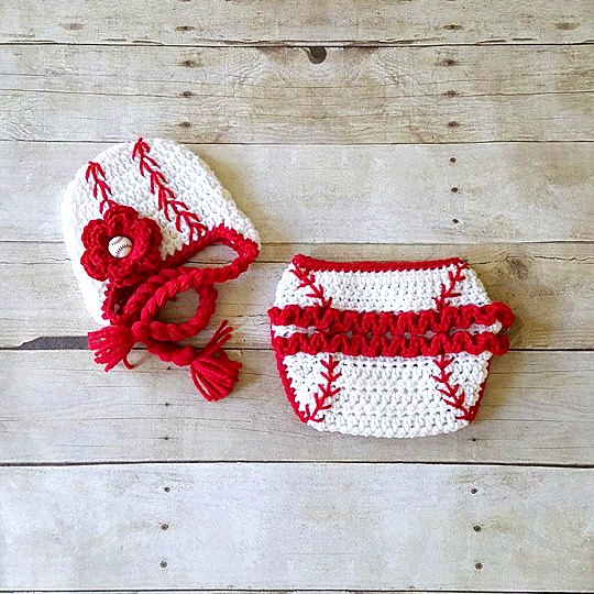 Crochet Baby Baseball Hat Beanie Cap Braided Girl Flower Ruffled Diaper Cover Ruffles Sports Set Newborn Infant Photography Photo Prop Gift - Red Lollipop Boutique