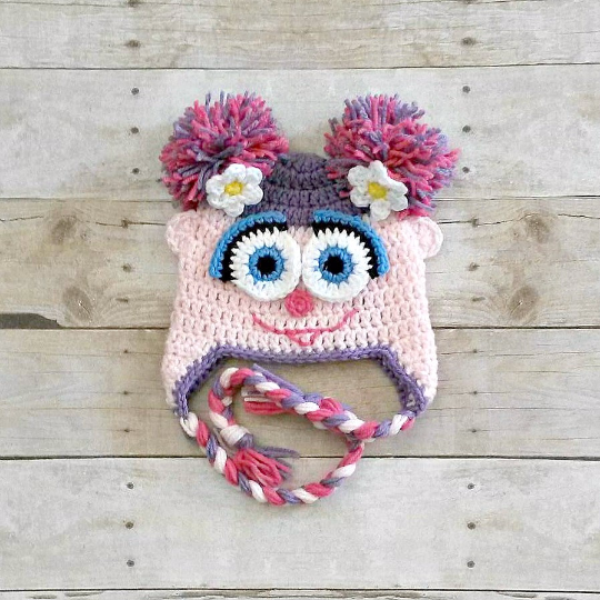 Crochet Abby Cadabby Sesame Street Fairy Hat Newborn Baby Toddler Child Inspired Costume Handmade Baby Shower Birthday Gift Girl - Red Lollipop Boutique