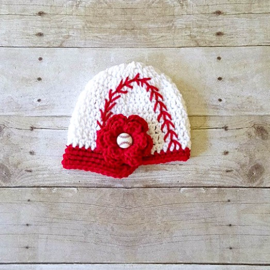 Crochet Baby Baseball Hat Visor Beanie Newsboy Cap Girl Flower Ruffled Diaper Cover Ruffles Sports Set Newborn Infant Photography Photo Prop - Red Lollipop Boutique