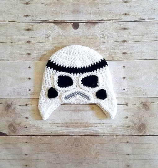 Crochet Baby Stormtrooper Helmet Hat Beanie Star Wars Inspired Newborn Infant Toddler Child Adult Photography Prop Handmade Baby Shower Gift - Red Lollipop Boutique