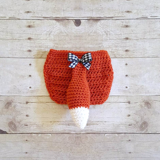 Crochet Baby Girl Fox Hat Beanie Diaper Cover Bow Newborn Infant Photography Photo Prop Animal Set Costume Handmade Baby Shower Gift
