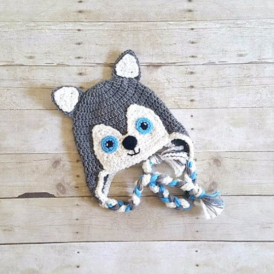 Crochet Wolf Husky Dog Hat Beanie Newborn Baby Infant Toddler Child Adult Animal Hat Photography Photo Prop Handmade Baby Shower Gift - Red Lollipop Boutique