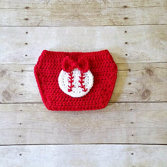 Crochet Baby Baseball Headband Hair Accessory Girl Bow Red Diaper Cover Sports Set Newborn Infant Photography Photo Prop Baby Shower Gift - Red Lollipop Boutique
