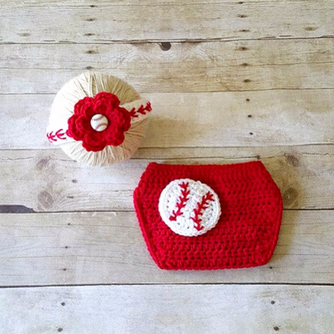 Crochet Baby Baseball Headband Hair Accessory Girl Flower Red Diaper Cover Sports Set Newborn Infant Photography Photo Prop Shower Gift - Red Lollipop Boutique
