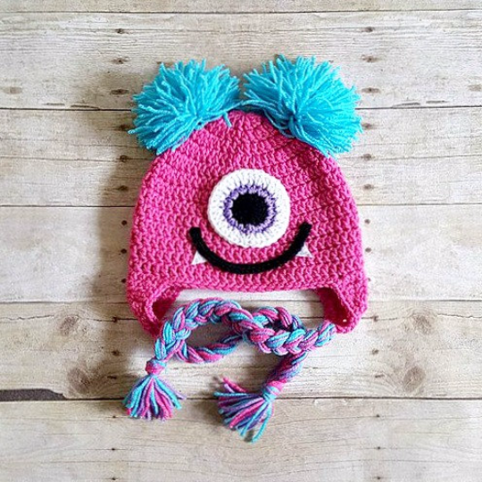 Crochet Girl Monster Hat Beanie Newborn Baby Infant Toddler Child Adult Photography Photo Prop Handmade Baby Shower Gift Present - Red Lollipop Boutique