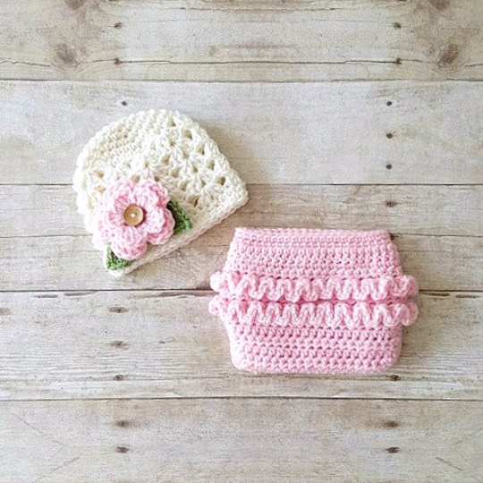 Crochet Baby Girl Flower Hat Beanie Spring Lace Ruffle Diaper Cover Set Infant Newborn Photography Photo Prop Ruffled Ruffles Handmade Gift - Red Lollipop Boutique