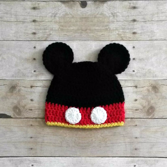 Crochet Baby Mickey Mouse Inspired Beanie Hat Newborn Toddler Child Photo Photography Prop Handmade Baby Shower Gift Boy - Red Lollipop Boutique