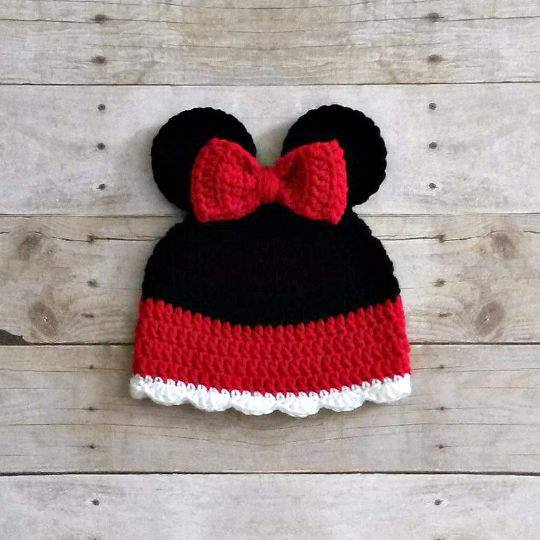Crochet Baby Minnie Mouse Inspired Beanie Hat Newborn Toddler Child Photo Photography Prop Handmade Baby Shower Gift Girl - Red Lollipop Boutique