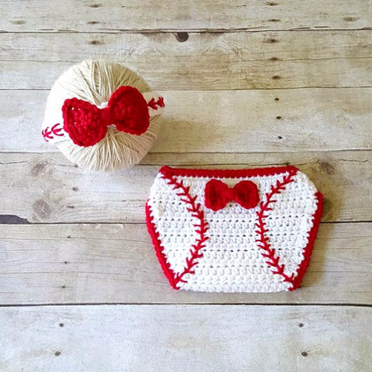 Crochet Baby Baseball Headband Hair Accessory Girl Bow Red Diaper Cover Ruffles Sports Set Newborn Infant Photography Photo Prop Shower Gift - Red Lollipop Boutique