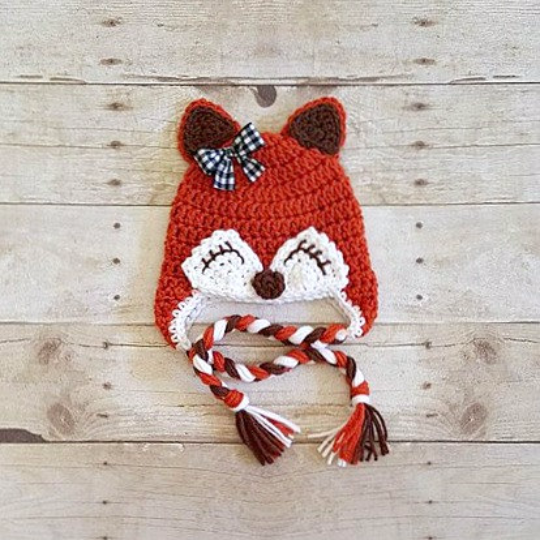 Crochet Baby Girl Fox Hat Beanie Bow Newborn Infant Toddler Adult Photography Photo Prop Animal Handmade Baby Shower Gift - Red Lollipop Boutique