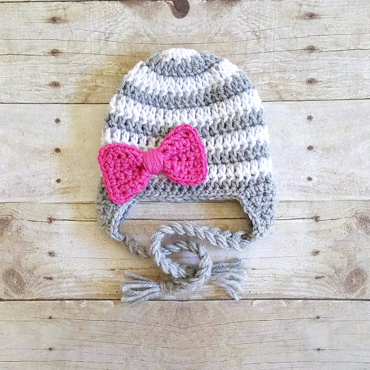 Crochet Striped Bow Beanie Hat Newborn Baby Infant Toddler Child Adult Handmade Baby Shower Gift Stripes Photography Photo Prop Accessory - Red Lollipop Boutique