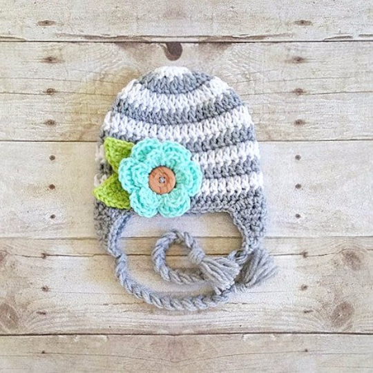 Crochet Striped Flower Beanie Hat Button Leaves Newborn Baby Infant Toddler Child Adult Handmade Baby Shower Gift Photography Photo Prop - Red Lollipop Boutique