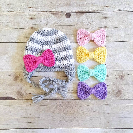 Crochet Striped Detachable Interchangeable Bow Beanie Hat Newborn Baby Infant Toddler Child Adult Handmade Photography Photo Prop - Red Lollipop Boutique
