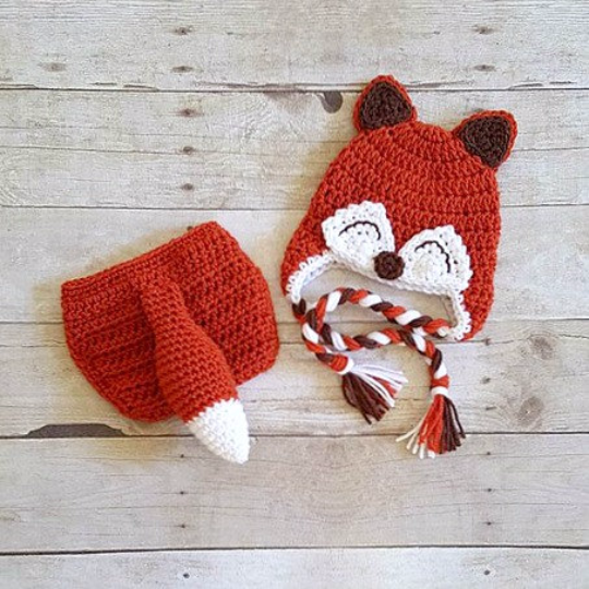 Crochet Baby Fox Hat Beanie Diaper Cover Bow Newborn Infant Photography Photo Prop Animal Set Costume Handmade Baby Shower Gift Unisex - Red Lollipop Boutique