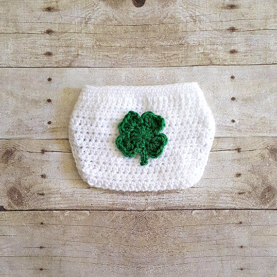 Crochet Baby St. Patrick's Day Shamrock Diaper Cover Infant Baby Newborn Leprechaun Handmade Photography Photo Prop Baby Shower Gift Present