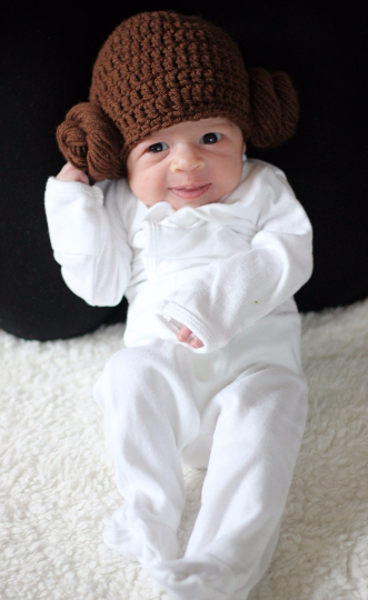 Crochet Baby Princess Leia Hat Beanie Star Wars Inspired Newborn Infant Toddler Child Adult Photography Prop Handmade Baby Shower Gift - Red Lollipop Boutique