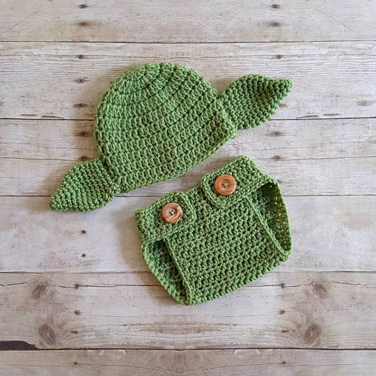 Crochet Baby Yoda Hat Beanie Diaper Cover Shoes Slippers Booties Set Star Wars Newborn Infant Photography Photo Prop Handmade Baby Shower - Red Lollipop Boutique