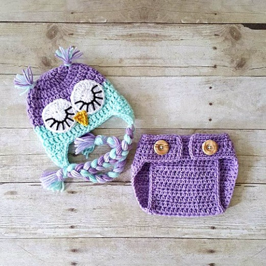 Crochet Pattern For Newborn Newsboy Hat : Crochet Baby Owl Hat Beanie Diaper Cover Bloomers Set ...
