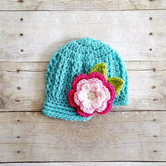 Crochet Flower Beanie Ribbed Newsboy Visor Cap Hat Newborn Baby Infant Toddler Child Adult Photography Photo Prop Handmade - Red Lollipop Boutique