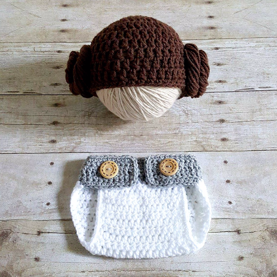 2ab1be515 Crochet Baby Princess Leia Star Wars Hat Beanie Diaper Cover Set Newborn  Infant Photography Photo Prop Handmade Baby Shower Gift