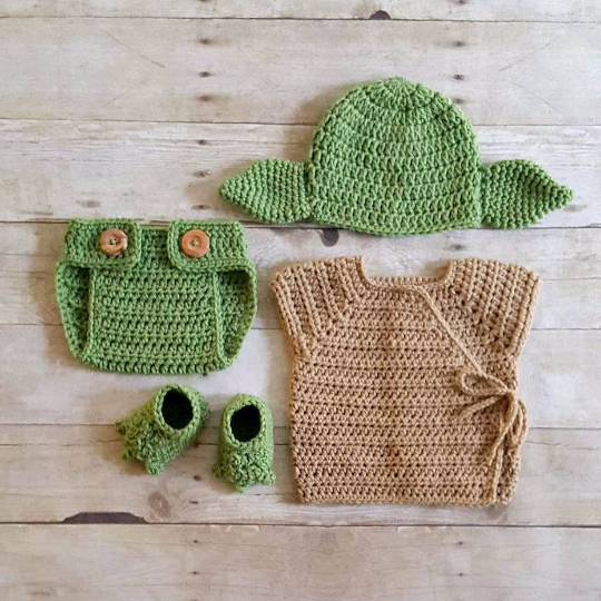 Crochet Baby Yoda Star Wars Set Hat Beanie Diaper Cover Robe Shirt Shoes Slippers Booties Newborn Infant Photography Photo Prop Handmade - Red Lollipop Boutique