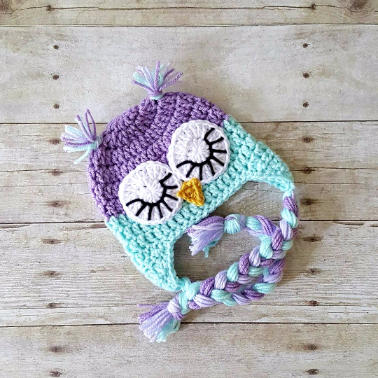Crochet Baby Owl Hat Beanie Animal Newborn Infant Toddler Child Adult Photography Photo Prop Handmade Baby Shower Gift Sleepy Owl - Red Lollipop Boutique