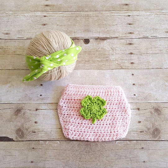 Crochet Baby St. Patrick's Day Shamrock Four Leaf Clover Diaper Cover Knot Cotton Polka Dot Headband Set Newborn Infant Baby Handmade Photography Photo Prop Baby Shower Gift Present