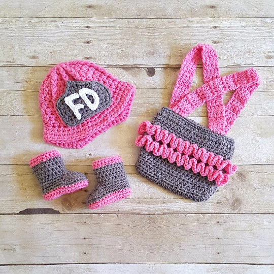 Crochet Baby Girl Firefighter Fireman Hat Helmet Boots Ruffled Diaper Cover Overalls Set Infant Newborn Photography Photo Prop Handmade Gift - Red Lollipop Boutique