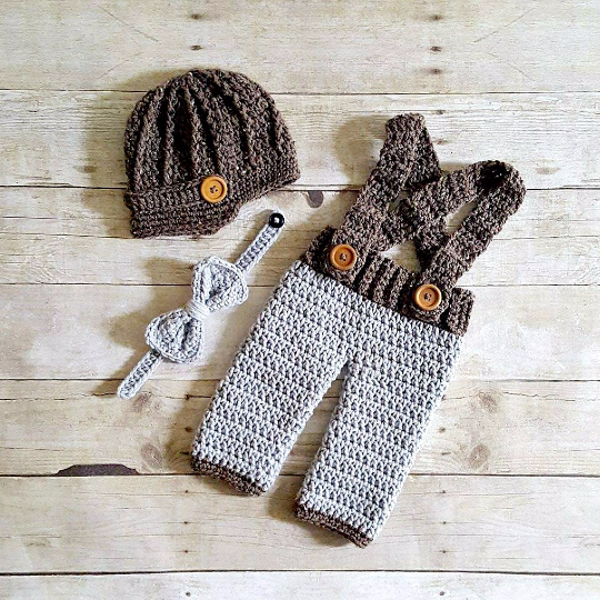 f8933c3ac Crochet Baby Boy Newsboy Hat Beanie Pants Overalls Diaper Cover Bow Tie Set  Infant Newborn Photography Prop Handmade Baby Shower Gift