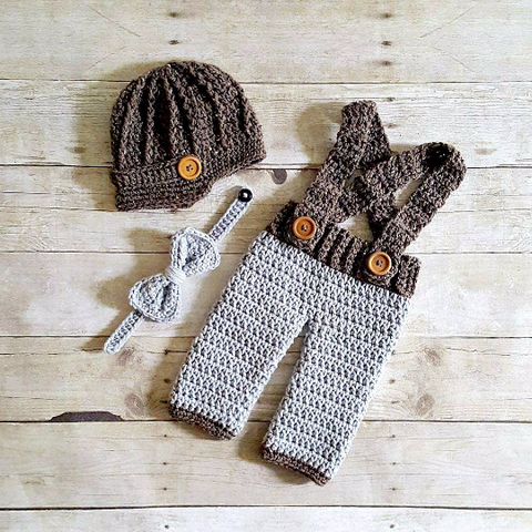 816d2e7fc37 Red Lollipop Boutique. From   30.00. Crochet Baby Boy Newsboy Hat Beanie  Pants Overalls Diaper Cover Bow Tie Set Infant Newborn Photography