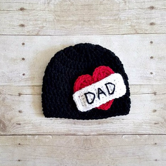 Crochet Dad Heart Tattoo Beanie Hat Father's Day Newborn Baby Infant Toddler Child Photography Photo Prop Handmade Baby Shower Gift - Red Lollipop Boutique