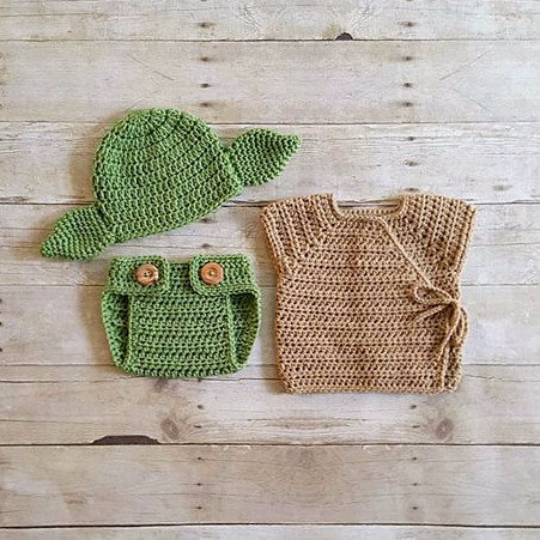 40ffeb054 Crochet Baby Yoda Star Wars Set Hat Beanie Diaper Cover Robe Shirt Newborn  Infant Photography Photo Prop Handmade Baby Shower Gift Set