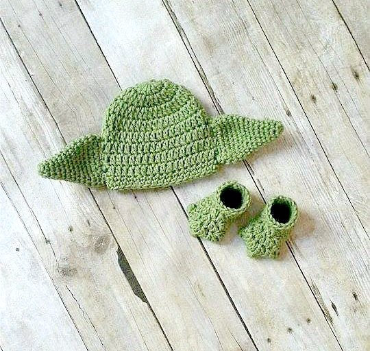 Crochet Baby Yoda Hat Beanie Shoes Slippers Booties Set Star Wars Newborn Infant Photography Photo Prop Handmade Baby Shower Gift - Red Lollipop Boutique