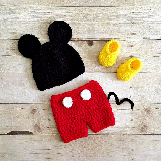Crochet Baby Twins Mickey Minnie Mouse Set Hat Beanie Diaper Cover Shorts Skirt Shoes Booties Boots Newborn Photography Photo Prop Handmade - Red Lollipop Boutique