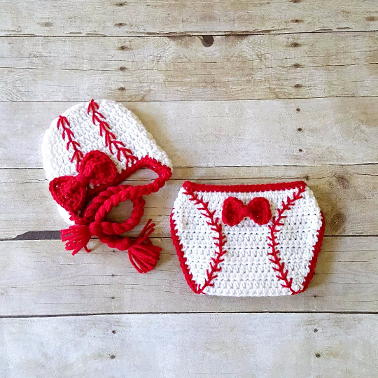 Crochet Baby Baseball Hat Beanie Braided Cap Girl Bow Red Diaper Cover Sports Set Newborn Infant Photography Photo Prop Handmade Shower Gift - Red Lollipop Boutique
