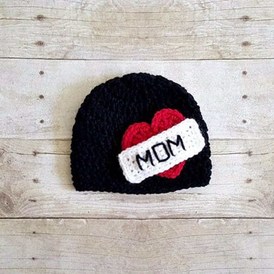 Crochet Mom Heart Tattoo Beanie Hat Mother's Day Newborn Baby Infant Toddler Child Photography Photo Prop Handmade Baby Shower Gift - Red Lollipop Boutique